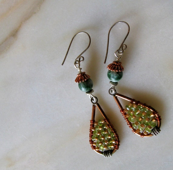 Peridot Dangle Earrings Tree Agate with Silver, Copper and Gold, Handmade Earwires