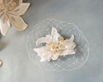 Bridal Fascinator, Wedding Fascinator,Birdcage headpiece, Wedding Hairpiece, bridal hair piece