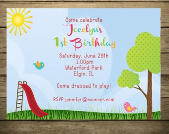 Playground - Park Birthday Invitation - With or Without Photo