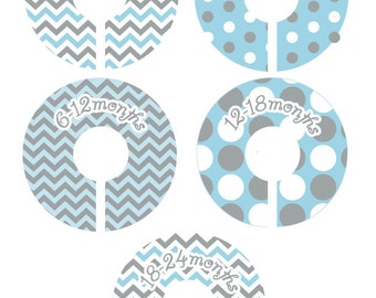 Chevron Baby Closet Dividers - Chevron and Dots