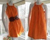RESERVED: Embroidered Orange Linen Halter Dress OOAK