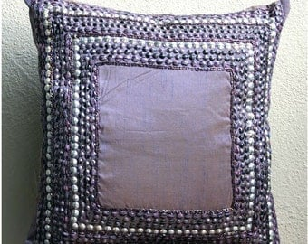 """Designer Purple Pillows Cover, 3D Antique Sequins Bordered Pillows Cover Square  18""""x18"""" Silk Pillows Covers For Couch - Purple Glamor"""