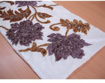 """Beaded Table Runner Ivory Blossoms Applique Velvet Embroidered 14"""" x 64"""" Elegant Table Linen Modern Place mats"""