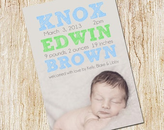 Photo Birth announcement Card - Digital file- Boy Birth Announcement