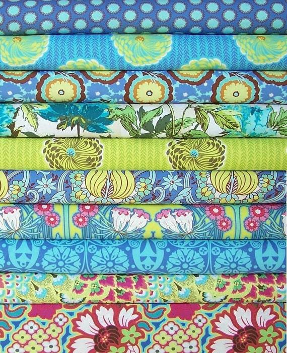 Soul Blossoms by Amy Butler - Bliss palette - Fat Quarter set of 10