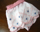 FREE SHIPPING-2Y Vintage Wide Embroidered Pink and Blue Scalloped Shabby Chic Style Trim