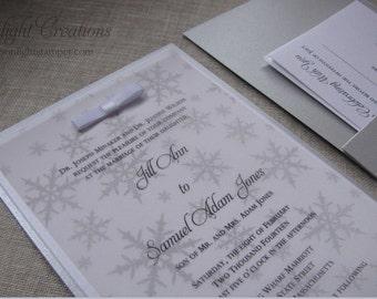 Silver Winter Wonderland Wedding Invitations, Snowflake Wedding Invites, Deposit Listing