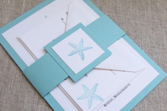 turquoise starfish wedding invitations beach wedding invites, Wedding invitations