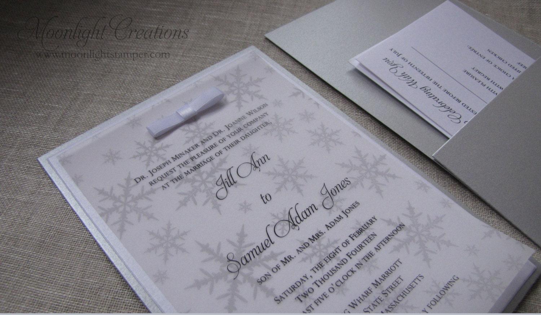 Winter Wedding Invitation Wording: Silver Winter Wonderland Wedding Invitations Snowflake