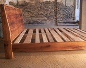 Modern Style Bed Frame With Slanted Headboard From Reclaimed Wood