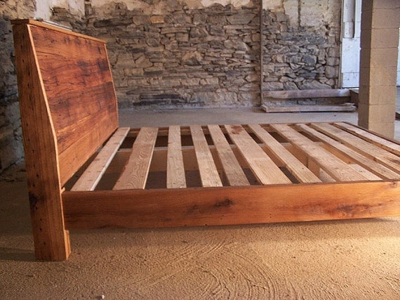 Modern style bed frame with slanted headboard from reclaimed - Bed frame styles types ...