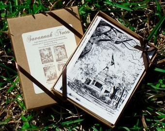 Savannah Square Notes Boxed Stationery Set - Historic Savannah Georgia Cards - Set of 8