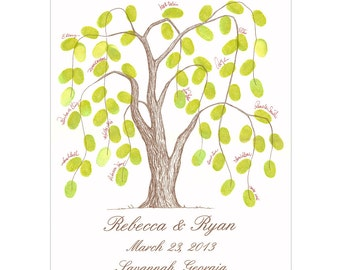 Thumbprint Tree Wedding Guest Book Alternative Weeping Willow Tree