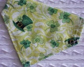 Dog Bandana with Leprechaun Hats & Clovers Sizes XS to XL in Over Dog Collar Style