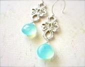Lady Godiva Earrings - aqua scroll earrings, silver art nouveau earrings, blue chalcedony, handmade jewelry, fashion, gifts under 50