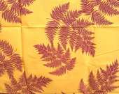 Fabric - Light Cotton Fabric with burgundy ferns  on yellow mustard background - Single Piece