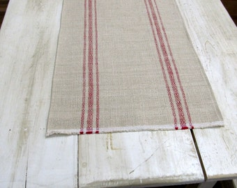FRENCH LAUNDRY Parisian Stripe Red On clay  Tablerunner