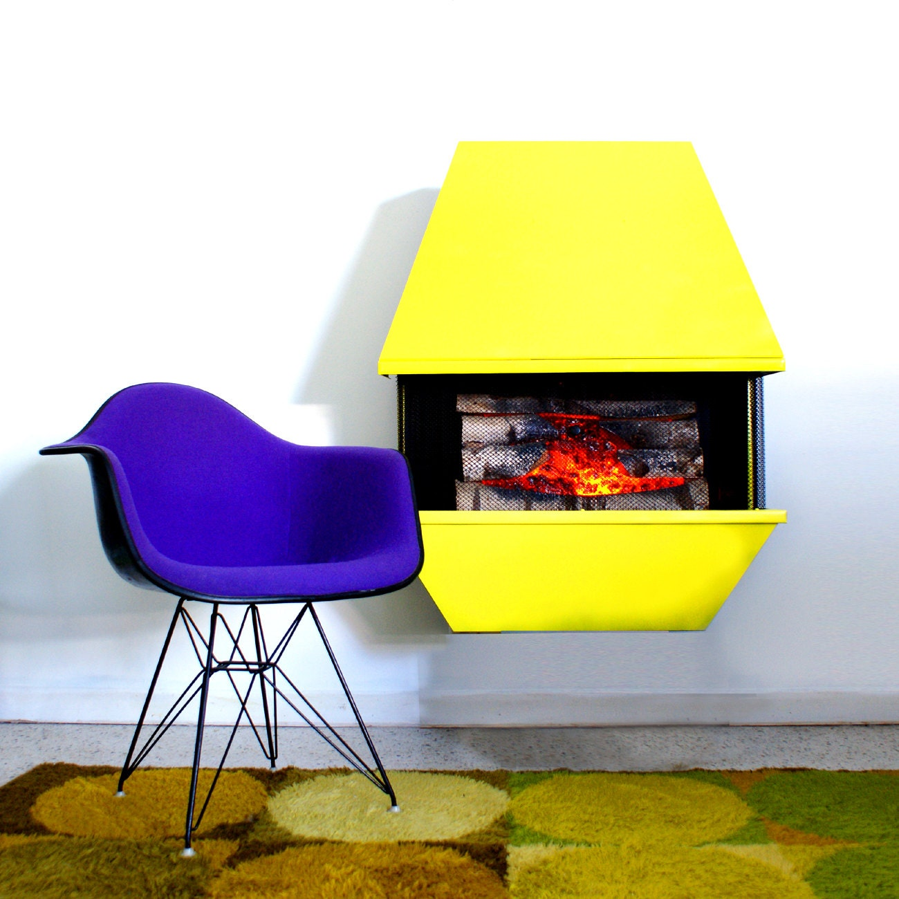mid century custom color electric fireplace. Black Bedroom Furniture Sets. Home Design Ideas