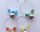 Cupcake Wine Charms or Markers set of 4 silver pewter glass beads lead-free USA-made muffin
