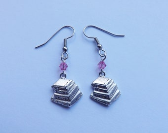 Book Charm Earrings silver or gold pewter swarovski crystals Great Teacher Gift