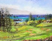 KAPALUA GOLF MAUI Original Palette Knife Oil Painting 11x14 Art  Course Hawaii Ocean Tourists Wedding Resort Bay Club Golfing Green