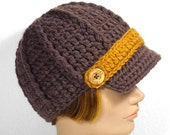 Brown Newsboy Hat with 3 Interchangeable Stripes