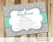 Mint + Gray Baby Shower Invitation, Gender Neutral Baby Shower Invitation, Polka Dots Mint and Grey Baby Shower Invitation, Printable