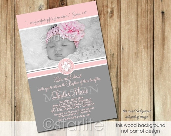 Baptism Photo Invitation Girl, Girl Baptism Photo Invitation, Pink + Gray Photo Baptism Invitation Girl, Printable Invitation, Printed
