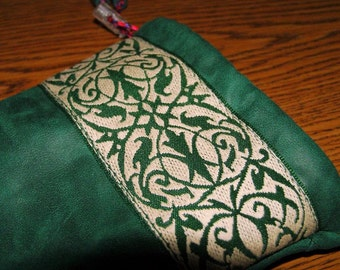Embroidered Trim Emerald Green LEATHER Draw Cord Glasses POUCH, Lined