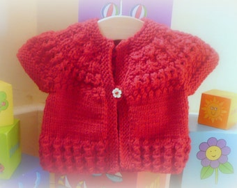 Knitting Pattern Cardigan Sweater Jacket -  Ruby a top down seamless yoked cardigan (6 Sizes 0 -7 yrs)