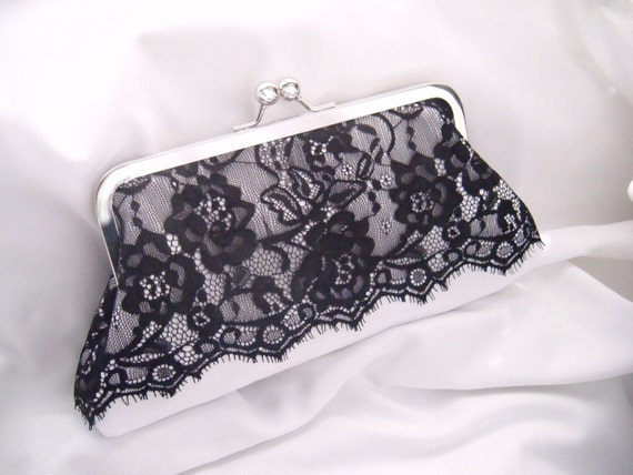 Elegant Camden Clutch in Black Lace on White Satin - silver kiss lock - black and white wedding - bride clutch - wedding clutch