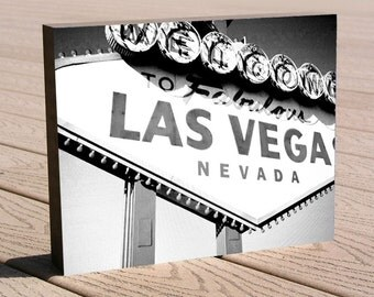 "Las Vegas art photo print ...8 x 10 mounted to a deep birch panel...""Las Vegas"", no framing needed, Great gift idea"