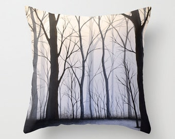 """Decorative black and white throw pillows cover ... from my original abstract landscape painting, """"Through the Woods"""" ... 16"""" x 16"""""""