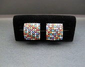 80s Disco Multi Color Rhinestone Clip On Earrings