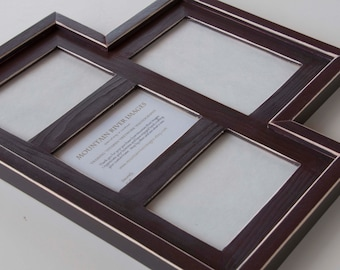MULTI 4 Opening distressed collage picture frame with 1) 5x7 & 3) 4x6's ...java brown....HANDMADE
