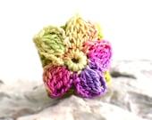 Crochet Ring Fiber Ring  Chartreuse Green Band Yellow Purple Fuschia