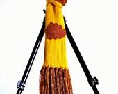 On Sale Marked Down 25% Knit Scarf Irish Crochet Applique Falling Leaves Golden Yellow Firey Fringe