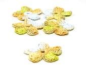 Crochet Applique Mini Flower Motif Flower Embellishment Crochet Flower Applique Lavender Chartreuse Peach Crochet Motif Crochet Flower Motif