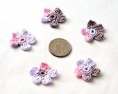 Crochet Applique Mini Flower Motif Flower Embellishment Crochet Flower Applique Pink Brown Wisteria Crochet Motif Crochet Flower Motif