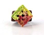 Crochet Ring Fiber Ring  Diamond Shape Applique Yellow, Lime Green, Rust, Rose On Brown Band