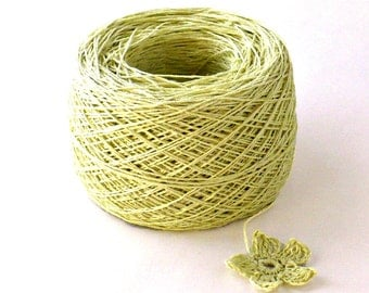 Crochet Thread 3 Ply Linen Thread Pale Spring Green Linen Yarn Specialty Thread Tatting Thread