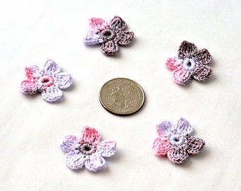 Crochet Applique Mini Flower Motif Flower Embellishment Crochet Flower Applique Pink Brown Wisteria Crochet Motif Crochet Flower Motif