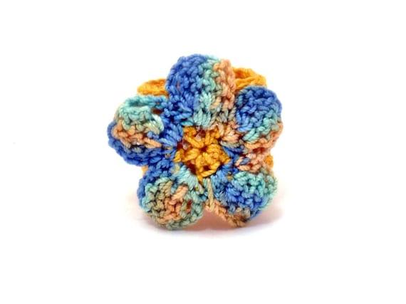 Crochet Ring Fiber Ring  Flower Applique Yellow Green Blue on Yellow Band