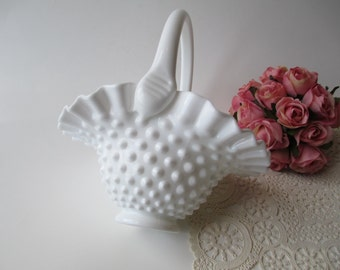 Vintage Fenton Milk Glass Hobnail Basket - Cottage Style
