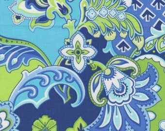 Blue And Green Fresh Paisley Print 100% Cotton Quilting Fabric