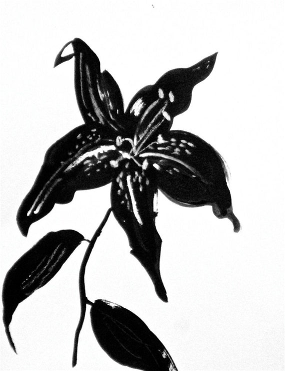 Black Goth Lily 9- original painting by Gretchen Kelly