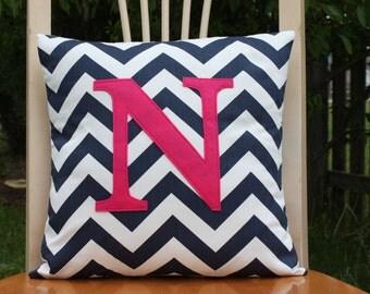 Monogrammed Navy Chevron Pillow Cover - Fushia Pink Monogram - Nursery/Kid Size