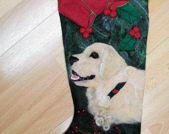 Needlefelted Pet Portrait on a Christmas Stocking