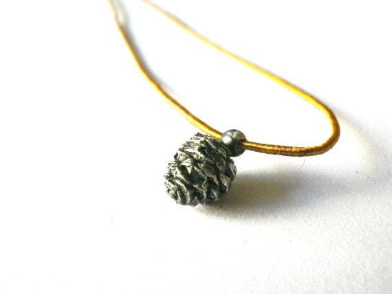 Pine cone pendant Golden brown silk cord Woodland jewelry Lost Wax
