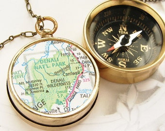Personalized keychain, Map Compass keychain, Personalized gift, Denali National Park map, custom graduation gifts, Men necklace